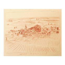 """Wayne Ensrud """"Village of Vosne Romanee, Burgundy, France"""" Pastel Original Artwork; Hand Signed; COA"""