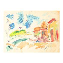 "Wayne Ensrud ""View of Chateau Bouscaut, Bordeaux - France"" Mixed Media Original Artwork; Hand Signed"