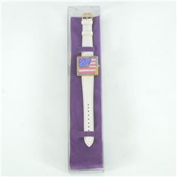 "Vintage Peter Max ""American Flag"" Watch with Original Packaging and Paperwork."