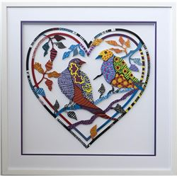"Patricia Govezensky- Original Painting on Laser Cut Steel ""Love Birds X"""