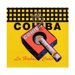 Steve Kaufman (1960-2010),  Cohiba  One-of-a-Kind Mixed Media on Canvas, Hand Signed Inverso with Ce