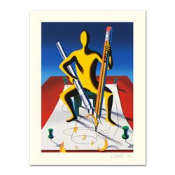 Mark Kostabi,  Careful With That Ax, Eugene  Limited Edition Serigraph, Numbered and Hand Signed wit
