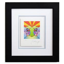 "Peter Max- Original Lithograph ""Profile And Sunrise (Mini)"""