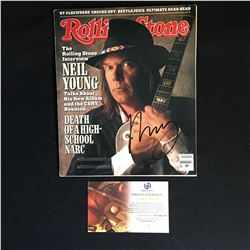 NEIL YOUNG SIGNED ROLLING STONE MAGAZINE COVER (GLOBAL AUTHENTICS COA)