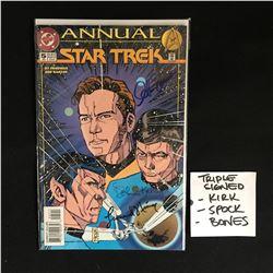 TRIPLE SIGNED SHATNER, NEMOY,KELLY STAR TREK ANNUAL COMIC BOOK WITH COA