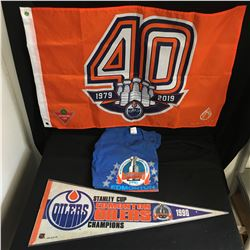 1990 EDMONTON OILERS STANLEY CUP CHAMPS LOT ( FLAG PENNANT, SWEATER