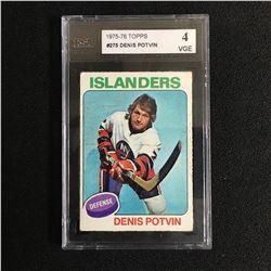 1975 TOPPS DENNIS POTVIN HOCKEY CARD JSA 4