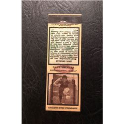 DIAMOND MATCH CO. NYC DAVE SMUCKLER PHI. EAGLES  MATCH BOOK