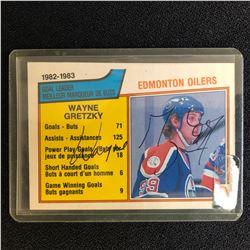 WAYNE GRETZKY SIGNED 1982 OPC EDMONTON OILERS POINTS LEADERS HOCKEY CARD