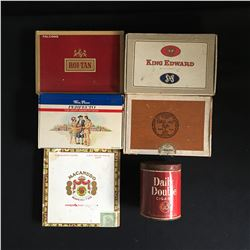 CIGAR BOXES LOT WITH VINTAGE TOBACCO TIN