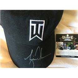 TIGER WOODS SIGNED NIKE TZ BLACK HAT IN SILVER ( ULTIMATE COA)