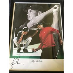 BEAUTIFUL TIGER WOODS SIGNED COLLAGE LARGE 23 X 28 JSA LOA