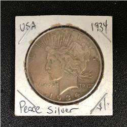 1934 USA SILVER PEACE DOLLAR