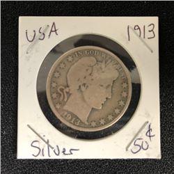 1913 USA SILVER HALF DOLLAR