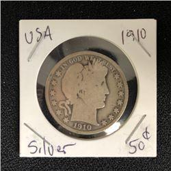 1910 USA SILVER HALF DOLLAR
