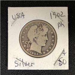 1902 USA SILVER HALF DOLLAR (PHILADELPHIA MINTED)