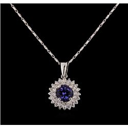 14KT White Gold 1.22 ctw Tanzanite and Diamond Pendant With Chain