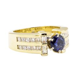 2.05 ctw Blue Sapphire And Diamond Ring - 14KT Yellow Gold