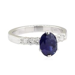 2.07 ctw Sapphire and Diamond Ring - 14KT White Gold