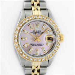 Rolex Ladies 2 Tone 18K Gold Bezel Pink MOP Baguette Diamond Datejust Wristwatch