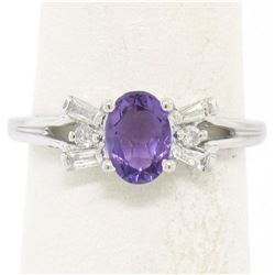 14K White Gold 1.05 ctw Oval Amethyst Solitaire Ring w/ 6 Diamond Accents
