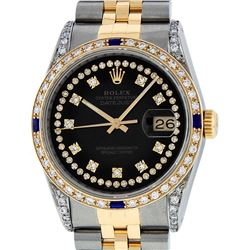 Rolex Mens 2 Tone 14K Black Diamond String Lugs & Sapphire Datejust Wristwatch