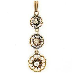 Antique 10K Yellow Gold .30 ctw 3 Old Mine Cut Diamond Open Flower Dangle Pendan