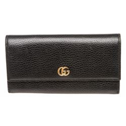 Gucci Black Pebbled Leather Marmont Continental Wallet