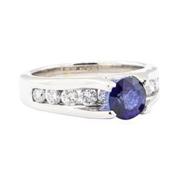 2.05 ctw Sapphire and Diamond Ring - 14KT White Gold