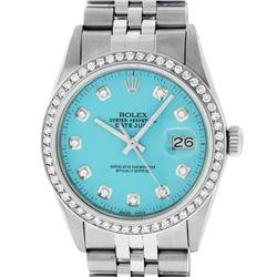 Rolex Mens Stainless Steel Blue Diamond 36MM Datejust Wristwatch
