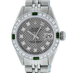 Rolex Ladies Stainless Steel Slate Grey Stamp Diamond & Emerald Datejust Wristwa