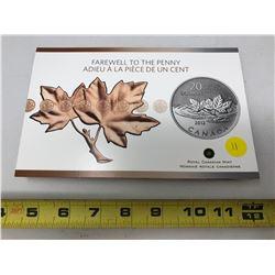 2012 $20.00 Fine Silver Commemorative Coin - Farewell to the Penny