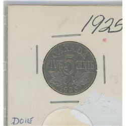 1925 Canada Five Cent Coin