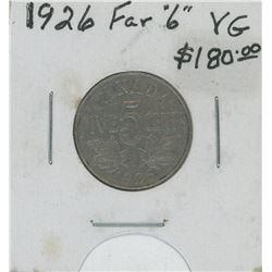 "1926 Far ""6"" Canada Five Cent Coin"