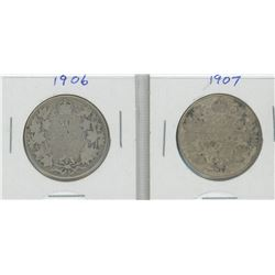 1906 and 1907 Canada Silver Fifty Cent Pieces