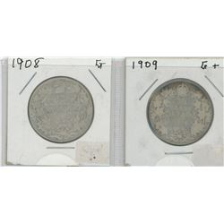 1908 and 1909 Canada Silver Fifty Cent Pieces
