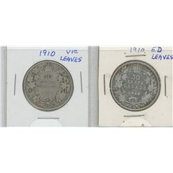 1910VL and 1910EL Canada Silver Fifty Cent Pieces
