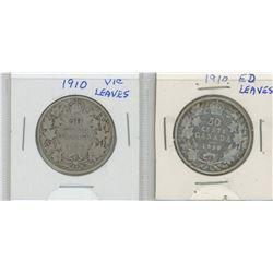1910VL and 1910EL Canada Silver Fifty Cent Pieces