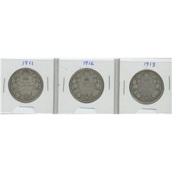 1911, 1912, and 1913 Canada Silver Fifty Cent Pieces