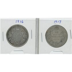 1916 and 1917 Canada Silver Fifty Cent Pieces