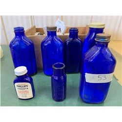 7- Cobalt Blue Glass Bottles w/ Mandarin Orange Wood Crate