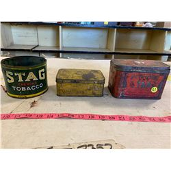 3- OLD Tobacco Tins