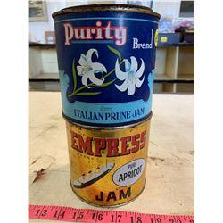 2- Vintage Jam Tins (Purity & Empress)
