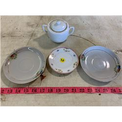Hand Painted Nippon Plates & Sugar Cup