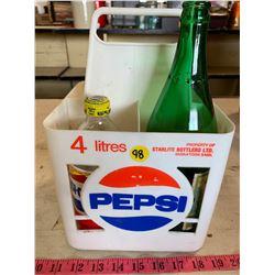 Pepsi Crate w/ 4 Assorted Vintage Bottles