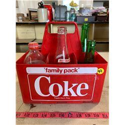 Coke Crate w/ 6- Assorted Vintage Bottles