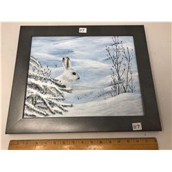 "Orignal Acrylic on Panel (17""x14"") by Paulette Lafaver - ""Snow Bunny"""