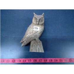 Hand Carved Wood Owl - Height 8""