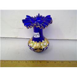 Czech Cobalt Blue Handblown Glass Vase Gilt and Painted