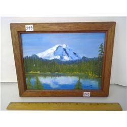 "1990 Original Oil Painting ""Mount Shasta"" Mahogany Frame"